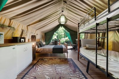 inside safari tent